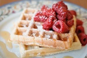 Waffles and raspberries